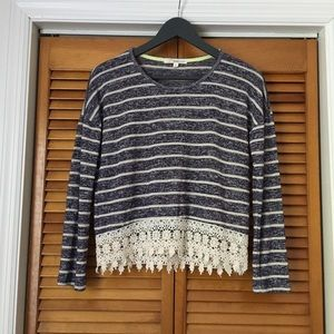 Navy and Cream Stripped Lace Hem Sweater